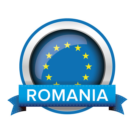 EU flag button with Romania ribbon