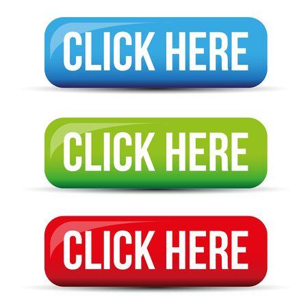 Click Here button set vector Banco de Imagens - 69144167