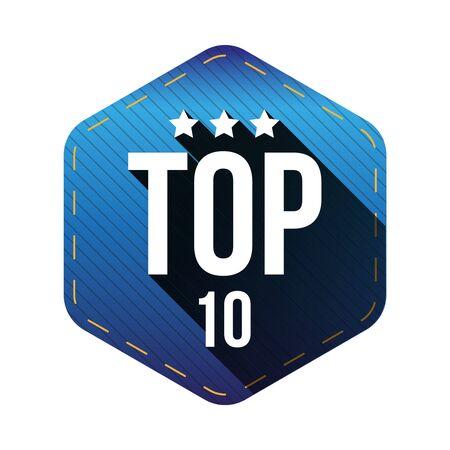 top ten: Top 10 - Top Ten vector hexagon patch