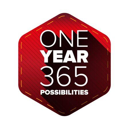 1 Jahr - 365 Möglichkeiten. Motivierende typografische Zitat