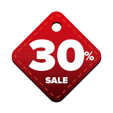 pricetag: Sale thirty percent pricetag red vector