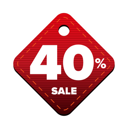Sale fourty percent pricetag red vector Illustration
