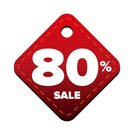 pricetag: Sale eighty percent pricetag red vector Illustration