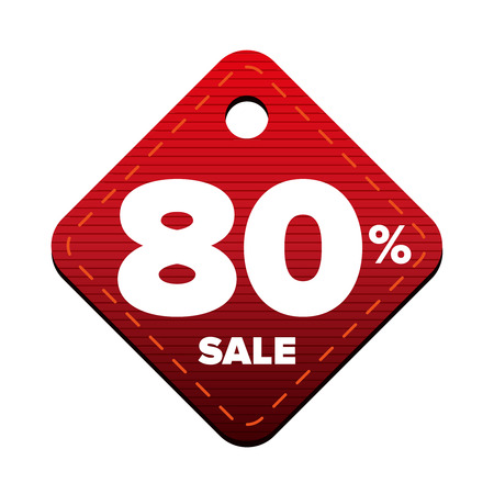 Sale eighty percent pricetag red vector Illustration