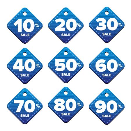 pricetag: Sale percent pricetag blue vector Illustration