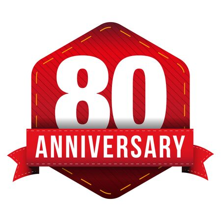 80th: Eighty year anniversary badge with red ribbon