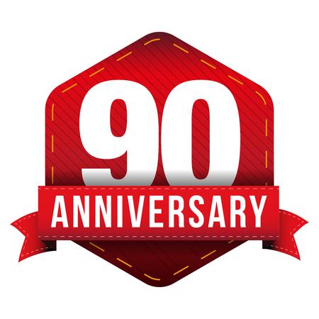 Ninety year anniversary badge with red ribbon