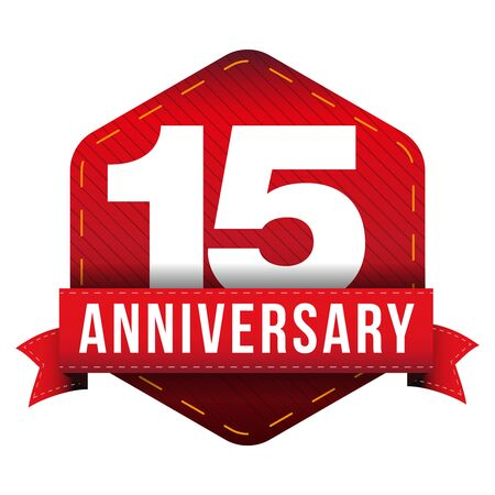 fifteen: Fifteen year anniversary badge with red ribbon Illustration