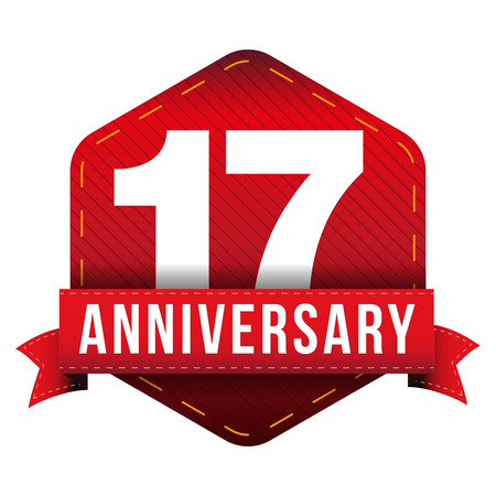 Seventeen year anniversary badge with red ribbon