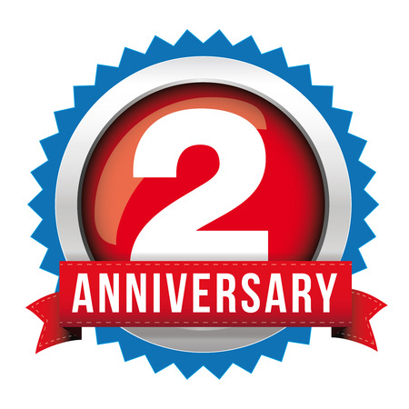 two years: Two years anniversary badge with red ribbon