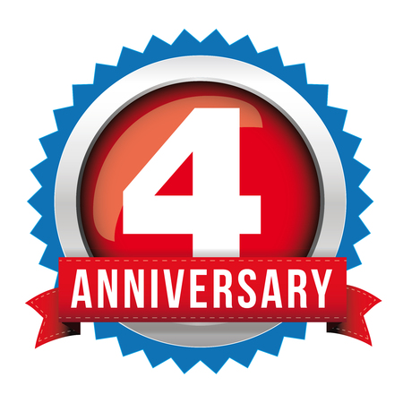 Four years anniversary badge with red ribbon Illustration