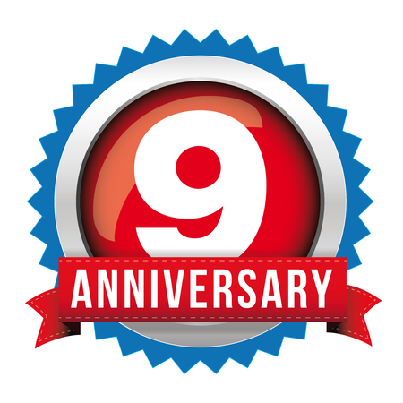 9th: Nine years anniversary badge with red ribbon