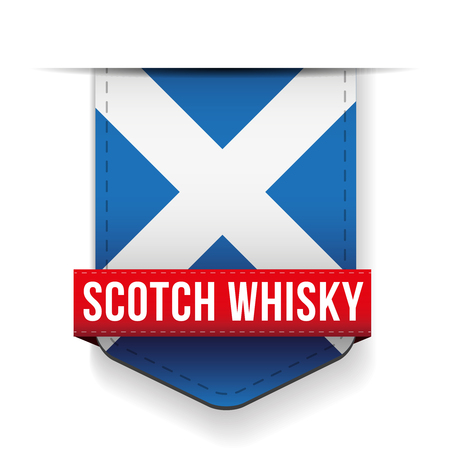 scotch whisky: Scotch Whisky ribbon on Scotland flag Illustration