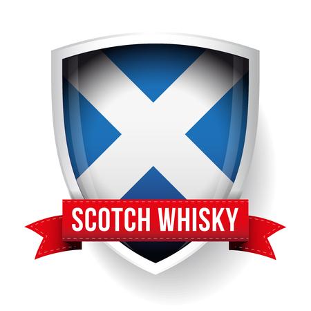 Scotch Whisky ribbon on Scotland flag Illustration