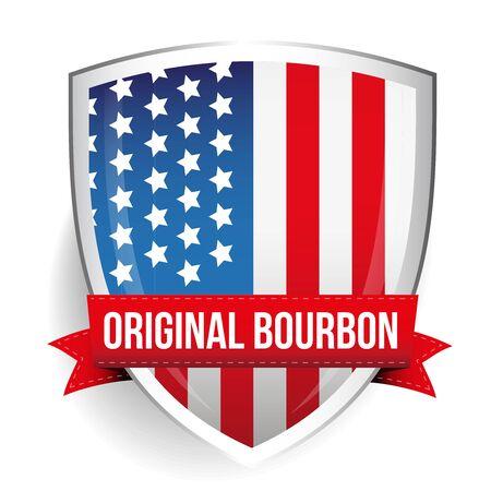 bourbon: Original Bourbon ribbon on USA flag shield Illustration
