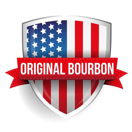 bourbon whisky: Original Bourbon ribbon on USA flag shield Illustration