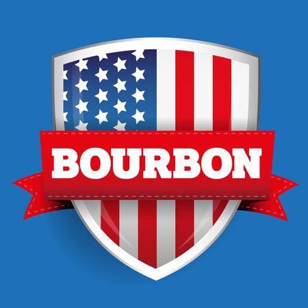 bourbon: Bourbon ribbon on USA flag shield Illustration