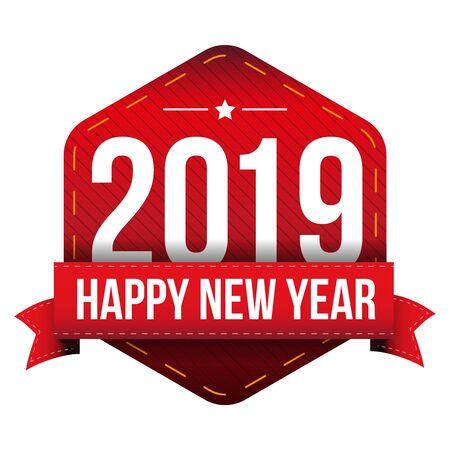 year: Happy New Year 2019 vector