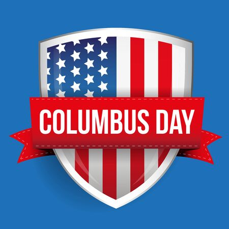 Columbus Day on USA flag shield