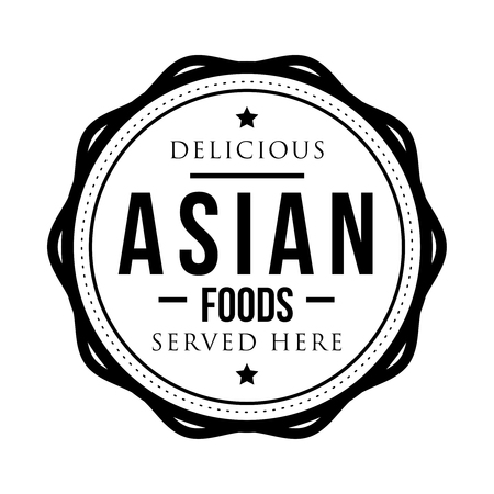 asian foods: Delicious Asian Foods vintage stamp