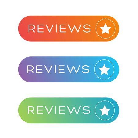 reviews: Reviews button vector speech bubble Illustration