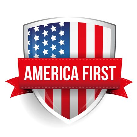 first job: America First shield with USA flag