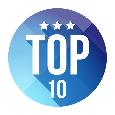 top ten: Top Ten button vector blue