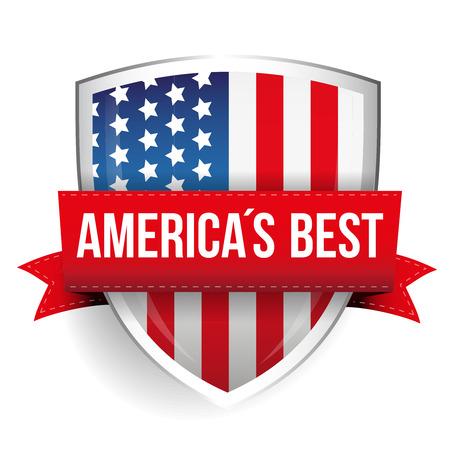 アメリカ最良のベクトル フラグとシールド  イラスト・ベクター素材