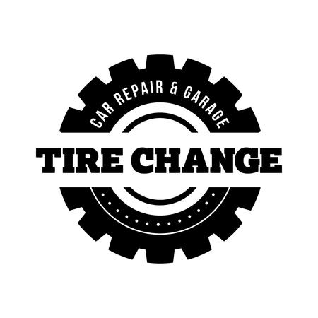 Tire Change vintage stamp Illustration