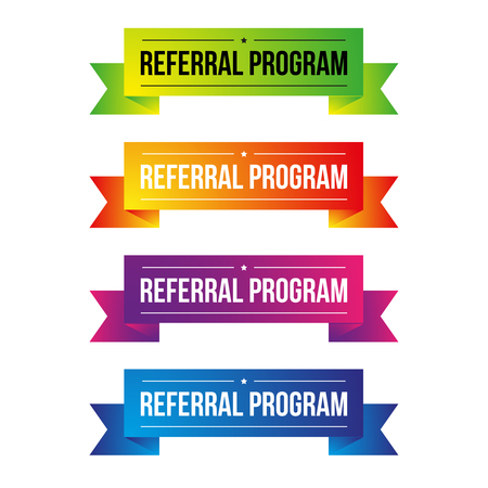 Referral Program ribbon set Illustration