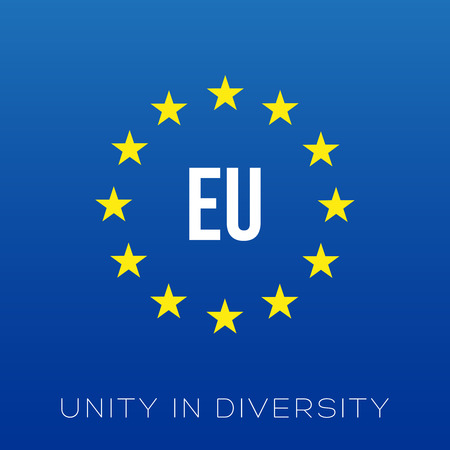 flag: EU logo. European union flag with motto Illustration