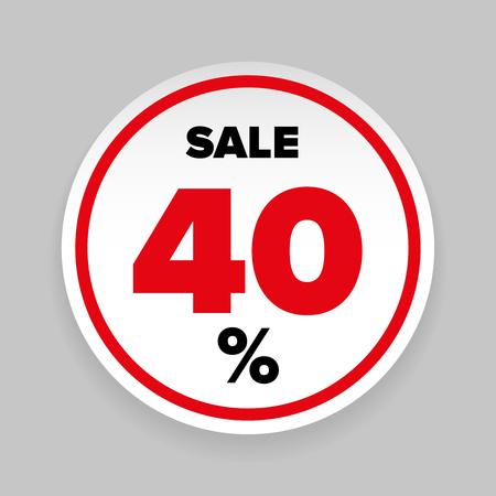 판매 스티커 40 % 벡터