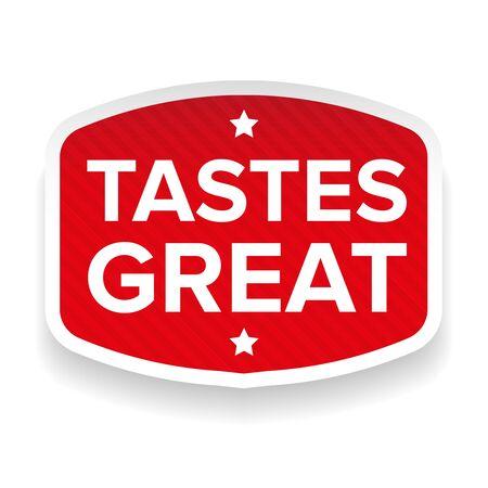 Tastes Great sticker vector red