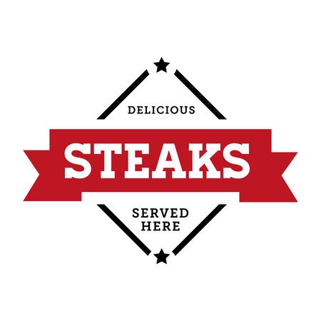 Steaks vintage stamp retro red vector Illustration