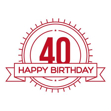 해피 생일 40 년 기호 벡터