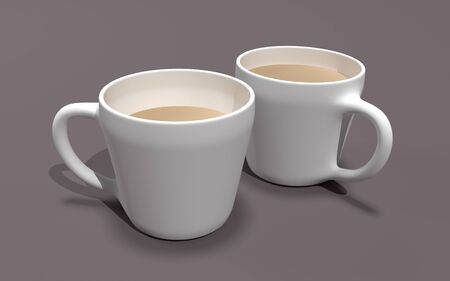Two coffee mugs on brown background 3D illustration