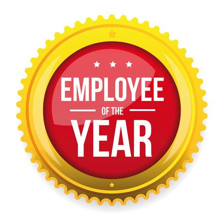 Employee of the year award badge vector