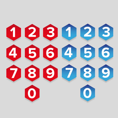 7 8: Number set hexagon button Illustration