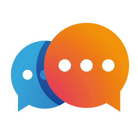 Icono de Messenger chat vector naranja.