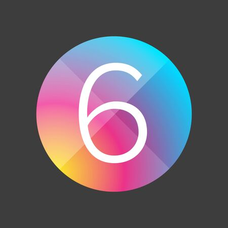 six objects: Number six colorful vector