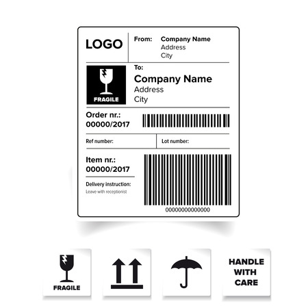 Shipping label barcode template vector
