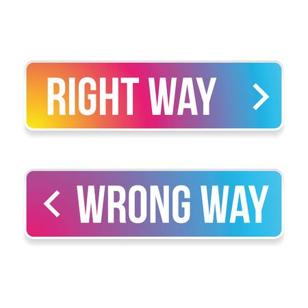 Right way wrong way button vector colorful Ilustração Vetorial