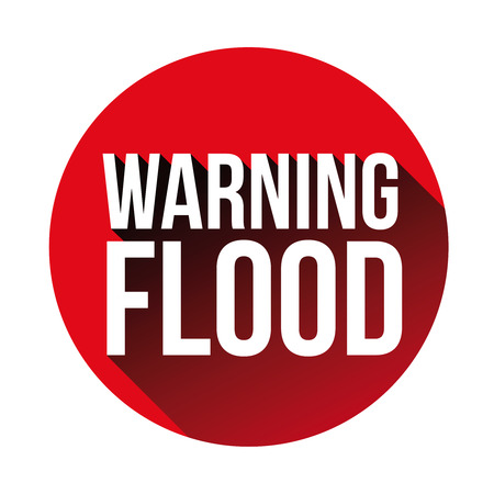 Warning Flood sign red vector Çizim