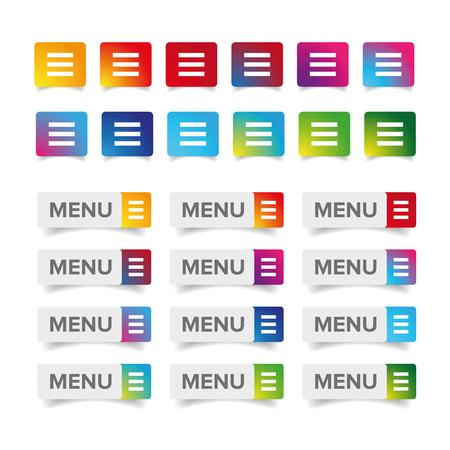Web Menu Icon ensemble coloré Vecteurs