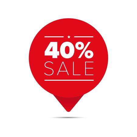 40 % 판매 제안 태그 일러스트