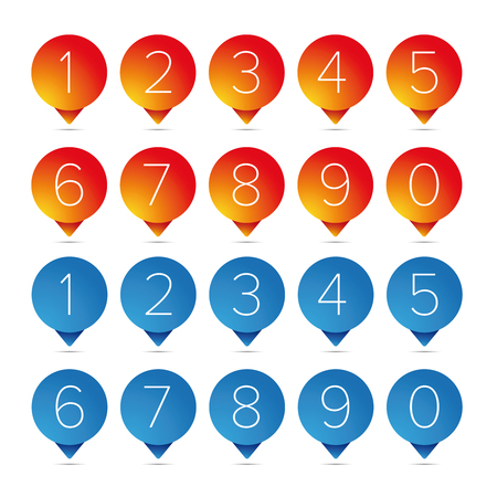Number set pointer button vector