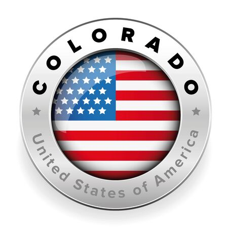 Colorado Usa flag badge button Illustration