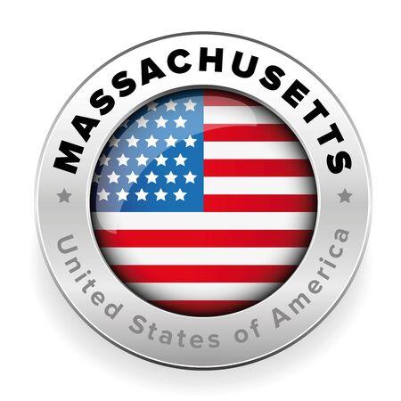 Massachusetts Usa flag badge button Stok Fotoğraf - 90461719