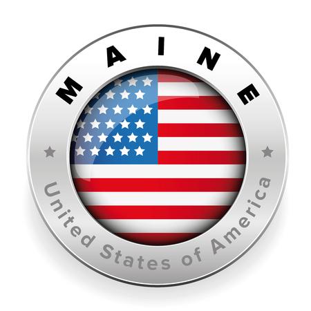 Maine Usa flag badge button  イラスト・ベクター素材