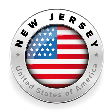 New Jersey Usa flag badge button